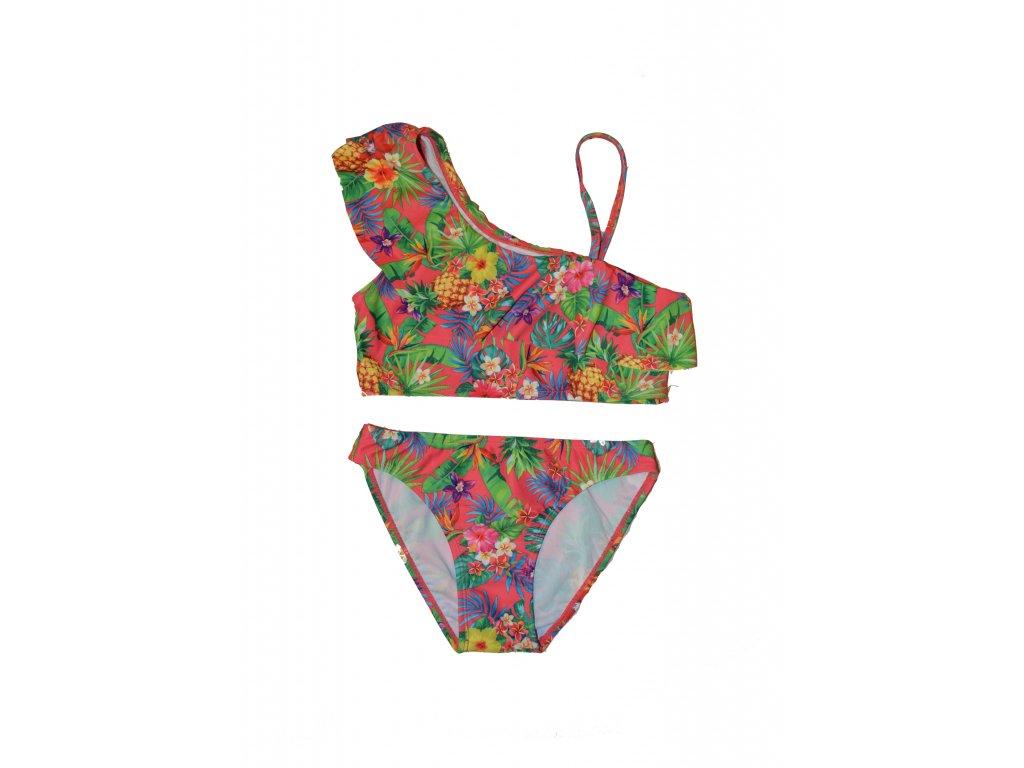 Dívčí dvoudílné plavky Losan červené s květy