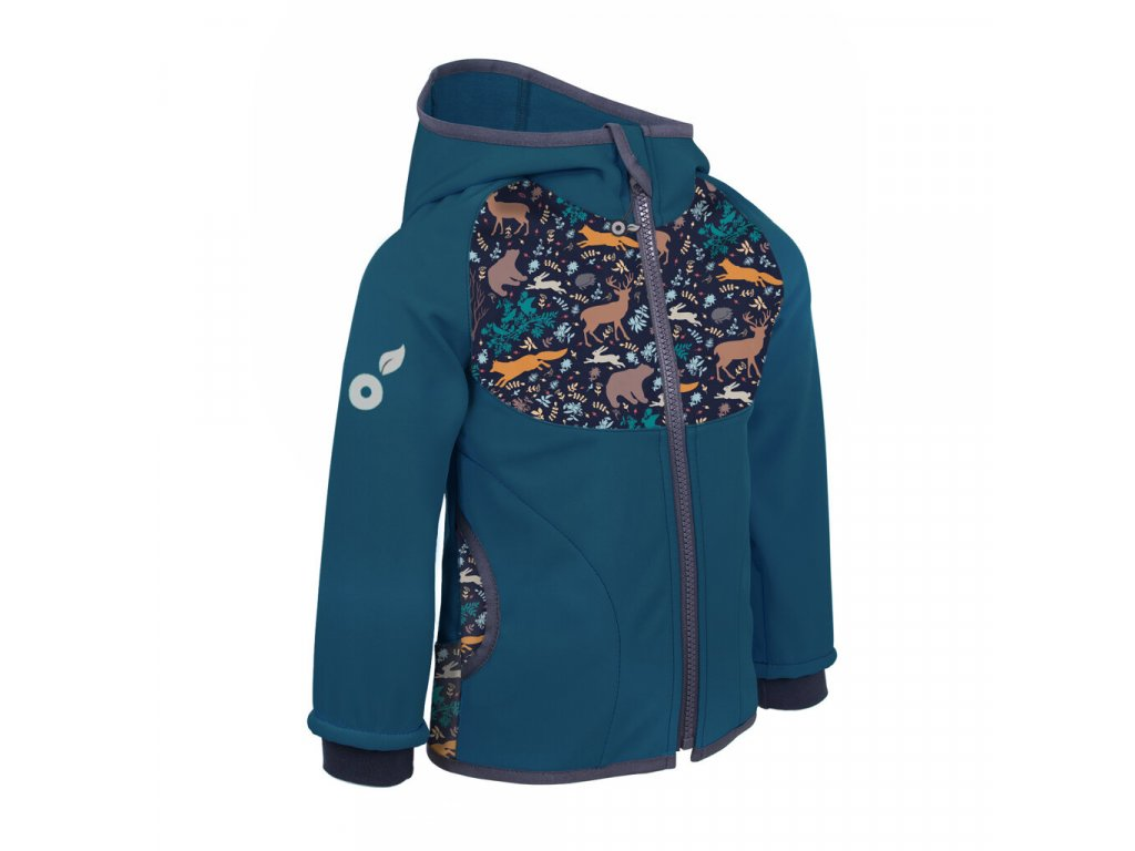 Unuo softshellová bunda s fleecem kobaltová noční zvířátka