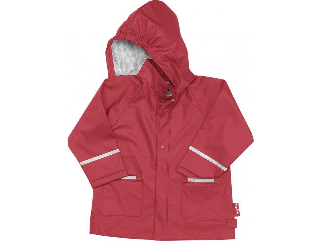 Kvalitní dětská chlapecká nepromokavá jarní bunda (pláštěnka) s kapucí a reflexními prvky Playshoes v červené barvě