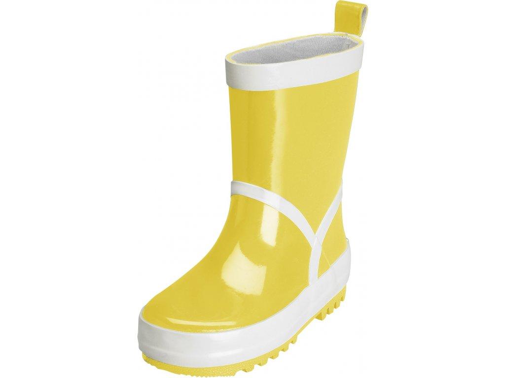 Kvalitní dětské gumáky z přírodního kaučuku Playshoes ve žluté barvě