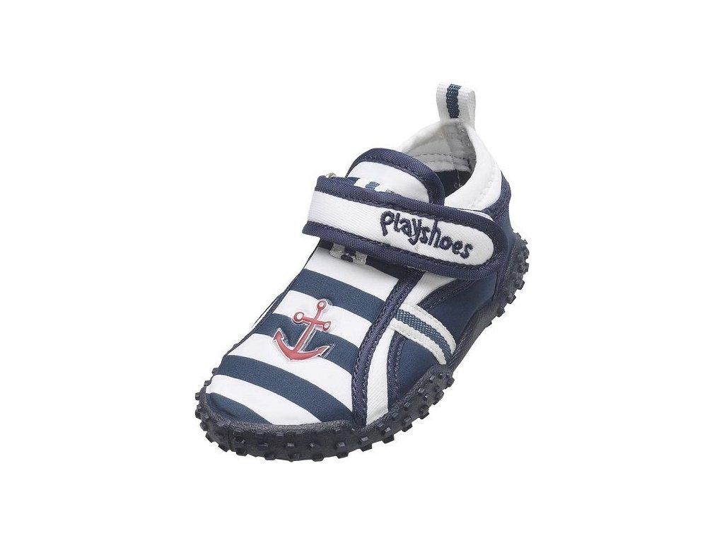 Kvalitní dětské lehké a prodyšné boty do vody Playshoes Námořník