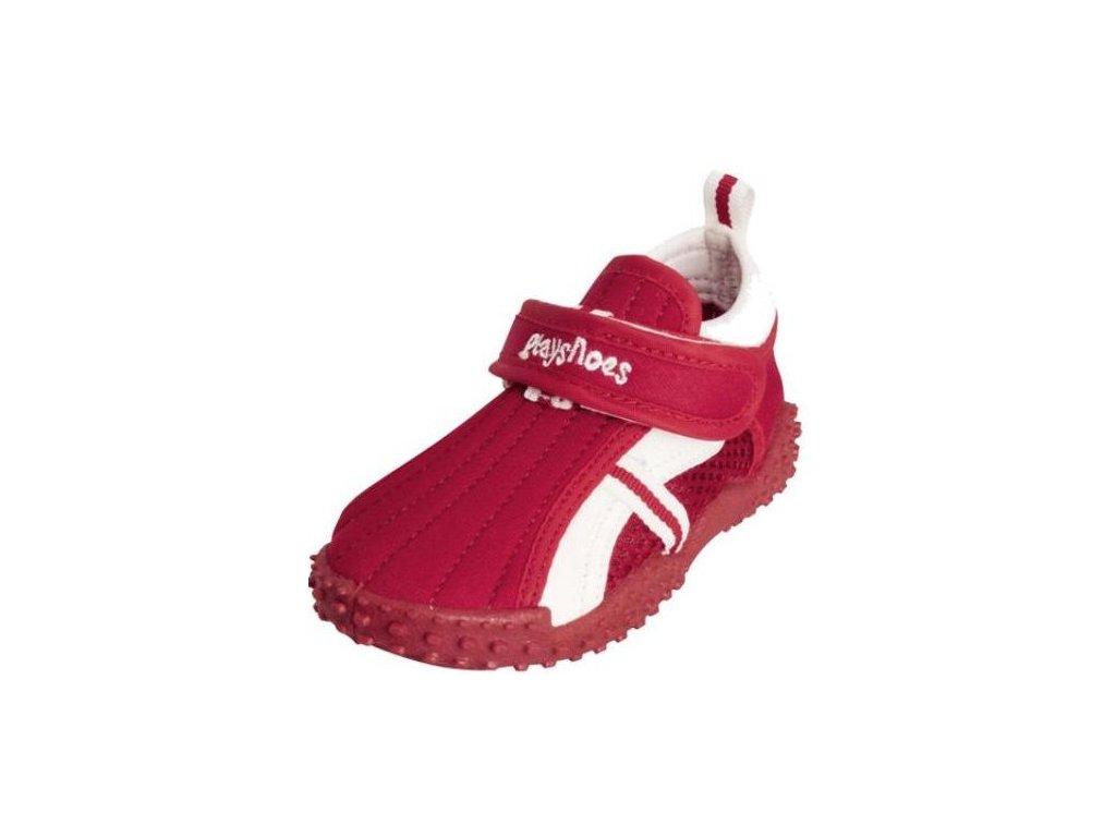 Kvalitní dětské lehké a prodyšné boty do vody Playshoes s přezkou červené