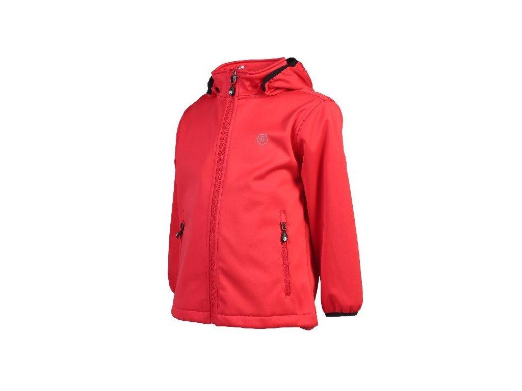 Kvalitní dětská zateplená jarní softshellová bunda s kapucí a reflexními prvky Color Kids Ralado softshell Racing red v červené barvě