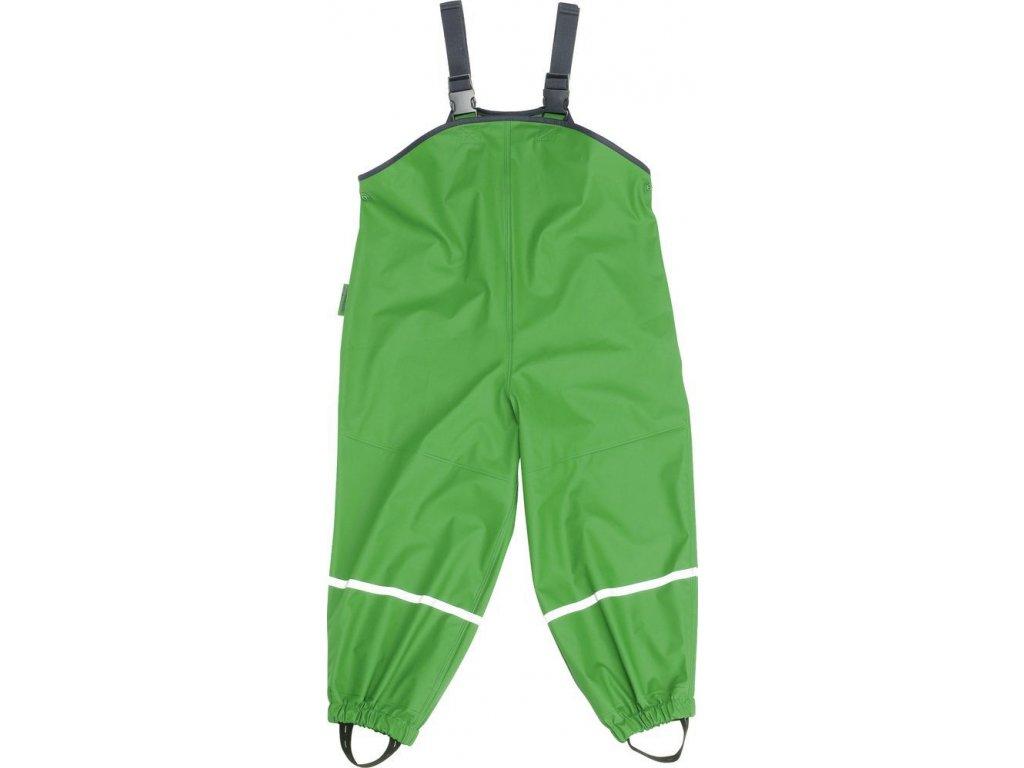 Kvalitní dětské nepromokavé kalhoty do deště s laclem Playshoes v zelené barvě