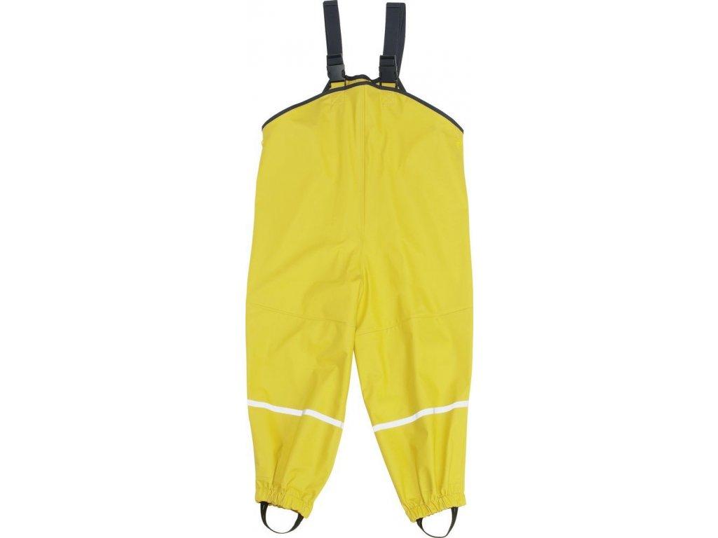 Kvalitní dětské nepromokavé kalhoty do deště s laclem Playshoes ve žluté barvě