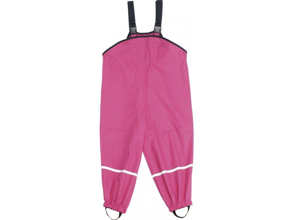 Kvalitní dětské nepromokavé kalhoty do deště s laclem Playshoes v tmavě růžové barvě