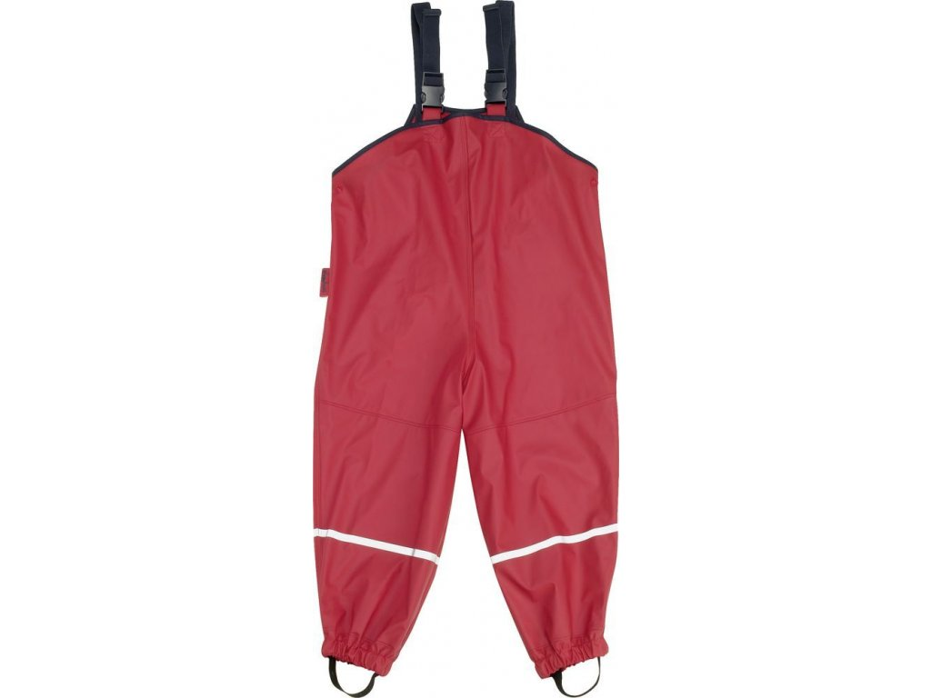 Kvalitní dětské nepromokavé kalhoty do deště s podšívkou Playshoes v červené barvě