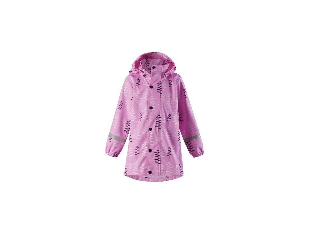 Kvalitní dětský dívčí kabát do deště (pláštěnka) s kapucí a reflexními prvky Reima Vatten - Candy pink v růžové barvě