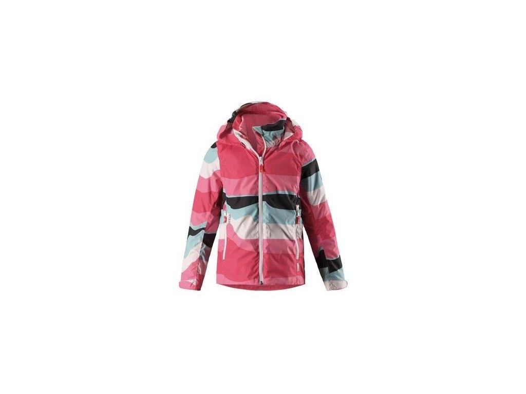 Kvalitní dětská dívčí nepromokavá bunda s membránou, kapucí a reflexními prvky Reima Tibia - Bright red v červené barvě