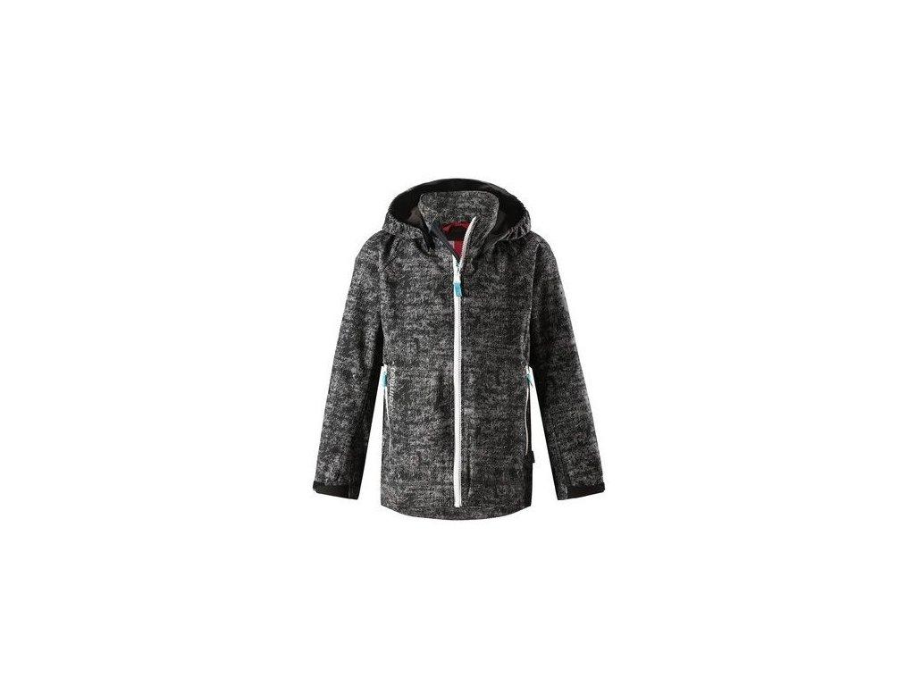 Kvalitní dětská zateplená jarní softshellová bunda s kapucí a reflexními prvky Reima Auger - Soft black v černé barvě