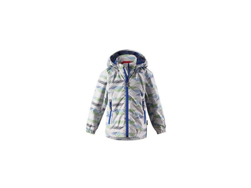 Kvalitní dětská nepromokavá bunda s membránou, kapucí a reflexními prvky Reima Zigzag - Light grey ve světle šedé barvě