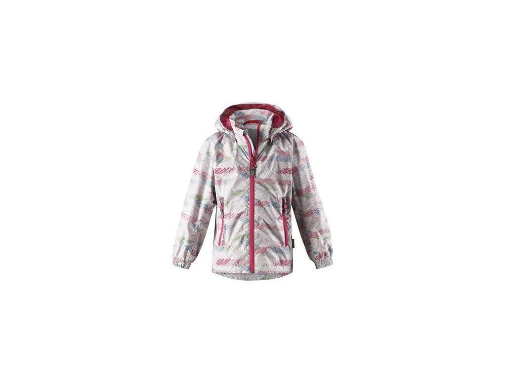 Kvalitní dětská dívčí nepromokavá bunda s membránou, kapucí a reflexními prvky Reima Zigzag - Light grey v šedé barvě