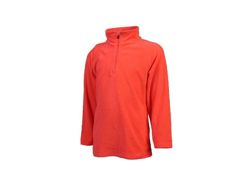 Kvalitní dětská hřejivá jarní fleecová mikina Color Kids Sandberg fleece Fiery coral v oranžové barvě
