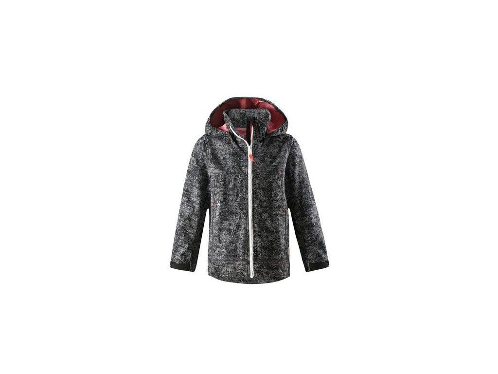 Kvalitní dětská zateplená jarní softshellová bunda s kapucí a reflexními prvky Reima April - Soft black v černé barvě