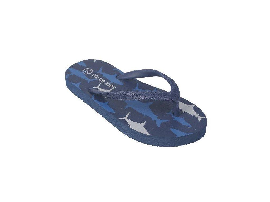 Kvalitní dětské plážové žabky Color Kids Nemo - Jeans blue v modré barvě