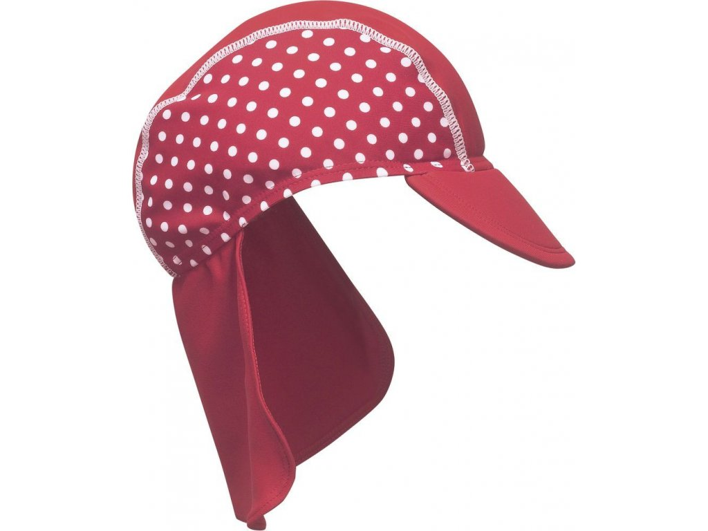 Kvalitní dětská plážová čepice s kšiltem a prodlouženou zadní částí ochrání před UV zářením Playshoes Puntík v červené barvě