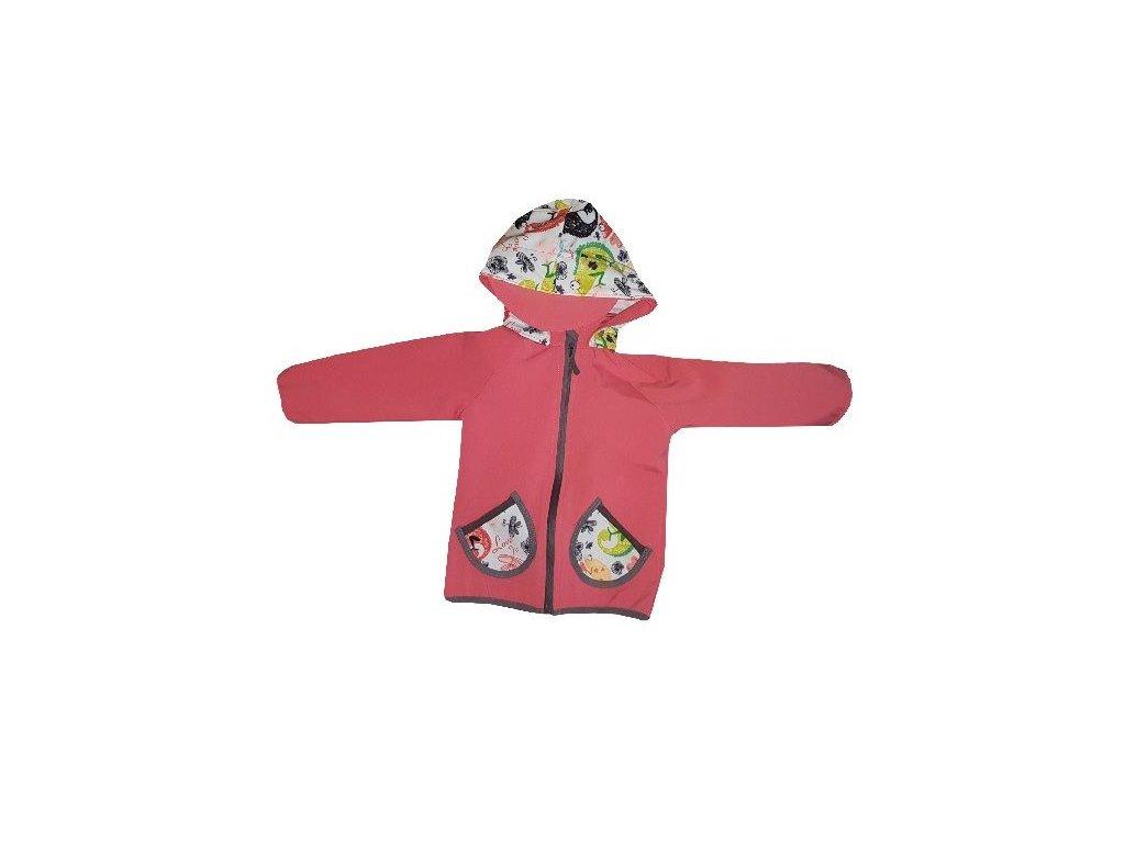 Kvalitní dětská prodyšná jarní softshellová bunda s kapucí a reflexními prvky Kakadu lososová - chameleon ve světle  růžové barvě