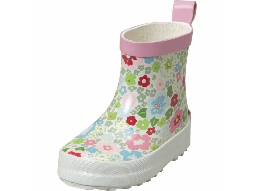 Kvalitní dětské nízké gumáky z přírodního kaučuku Playshoes Kytičky v bílé barvě