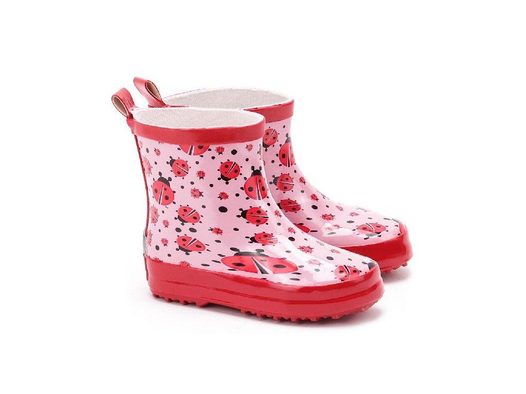 Kvalitní dětské nízké gumáky z přírodního kaučuku Playshoes Berušky v růžové barvě