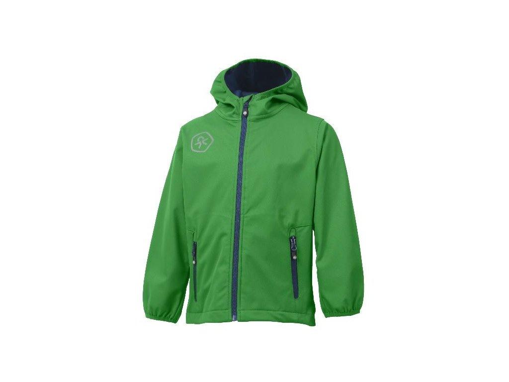 Kvalitní dětská prodyšná jarní softshellová bunda s kapucí a reflexními prvky Color Kids Barkin - Online green v zelené barvě
