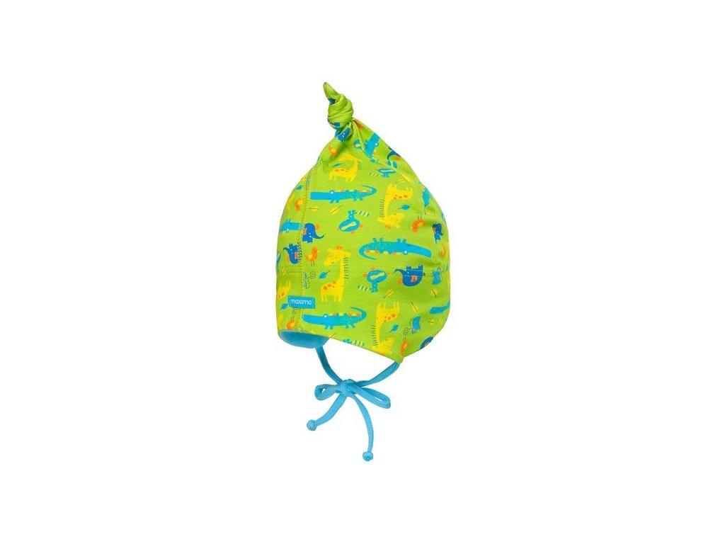 Dětská batolecí čepička Maximo zelená zvířátka