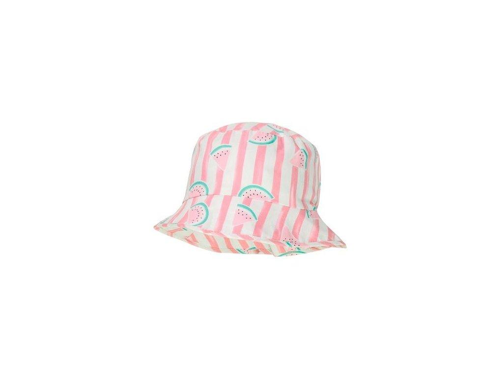 Kvalitní dětský bavlněný klobouček Maximo melouny v růžové barvě