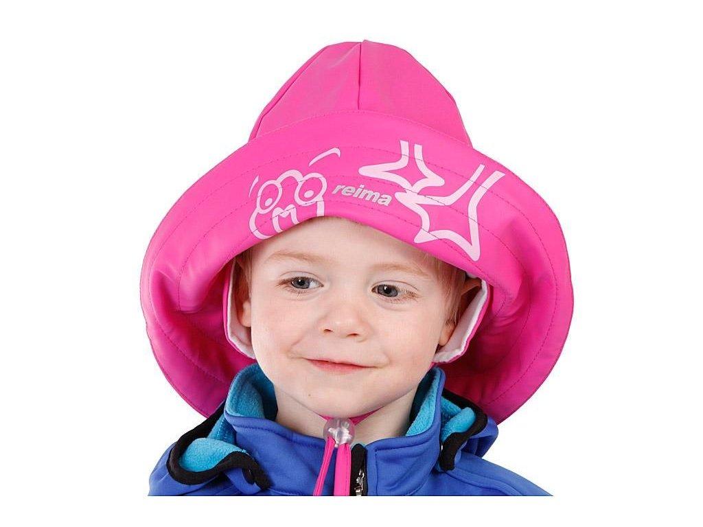 Kvalitní dětský klobouček do deště Reima s kačerem v růžové barvě