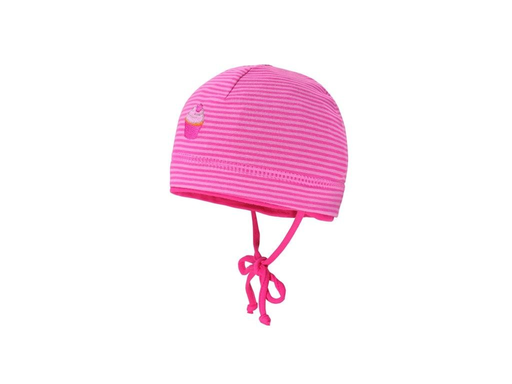 Kvalitní dětská batolecí bavlněná čepice Maximo cupcake v tmavě růžové barvě