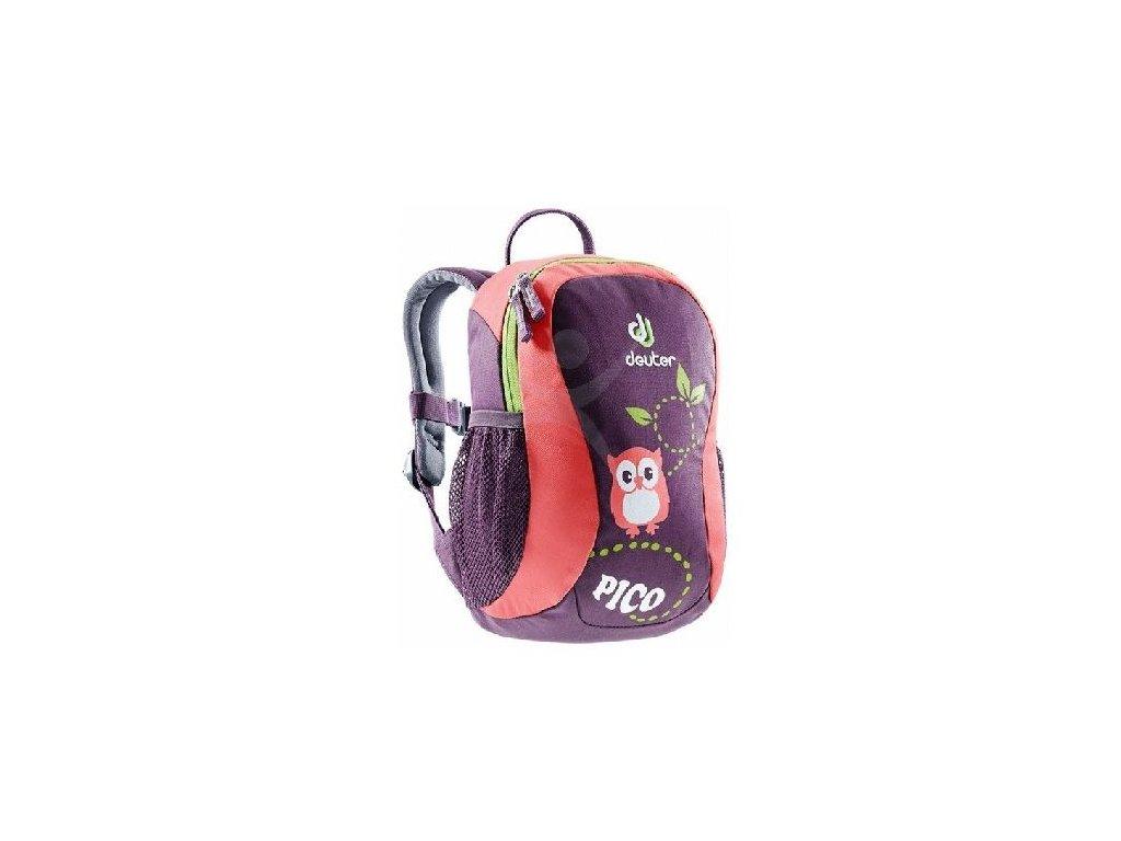 Kvalitní nylonový, komfortní a propracovaný batoh pro batolata Deuter Pico Plum - coral v korálové barvě