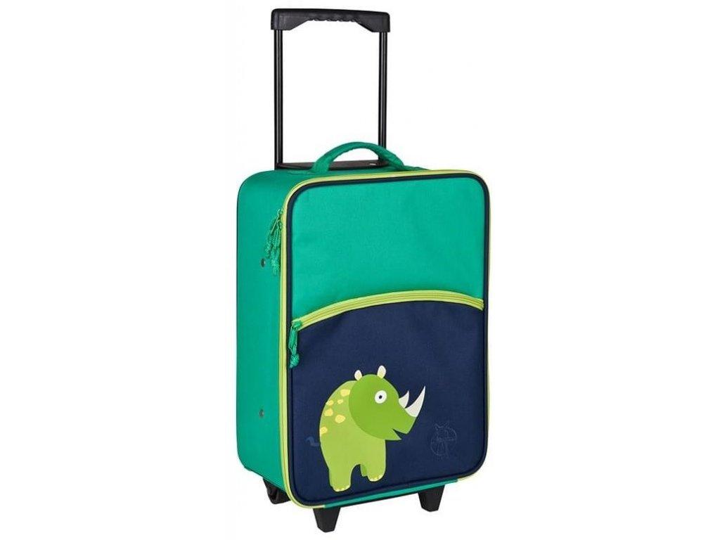 Kvalitní kufřík na kolečkách s vysunovací rukojetí Lassig Trolley kids Wildlife Rhino v zelené barvě