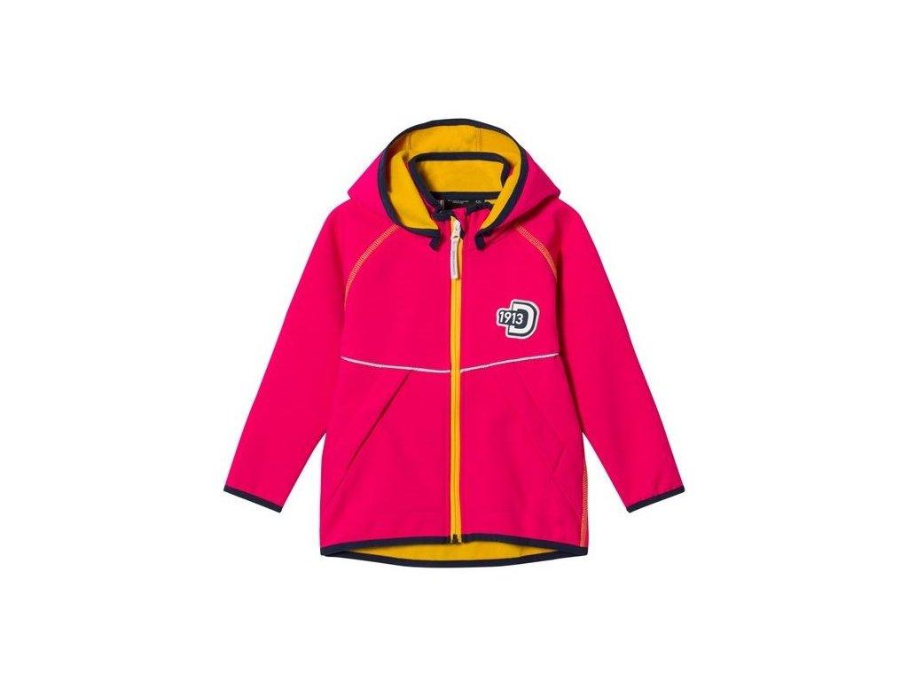 Kvalitní dětská prodyšná jarní softshellová bunda s kapucí a reflexními prvky Didriksons Elman v růžové barvě