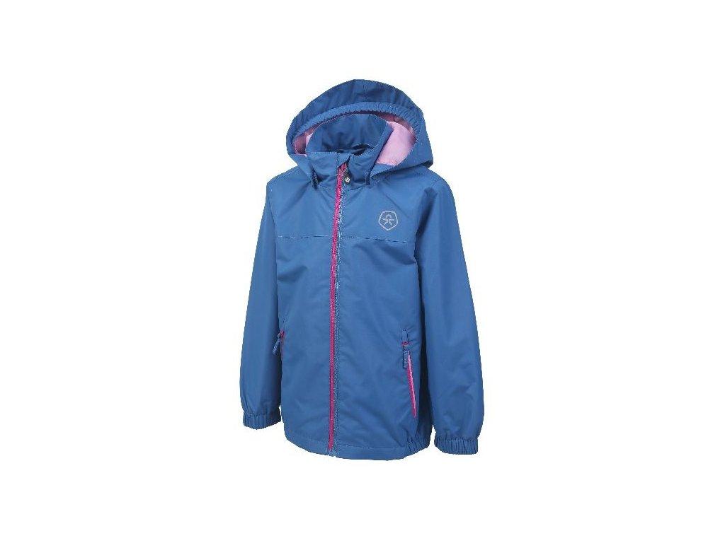 Kvalitní dětská nepromokavá bunda pro venkovní aktivity s kapucí a reflexními prvky Color Kids Thinus - Jeans blue v modré barvě