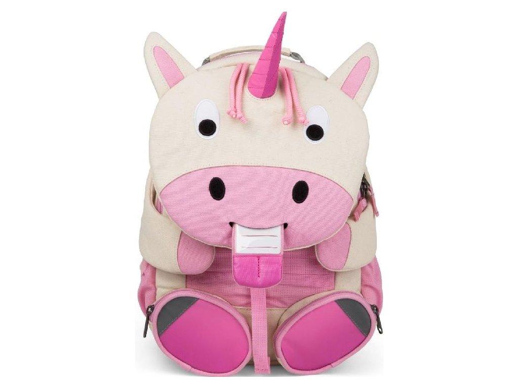 Kvalitní dětský nylonový, komfortní a propracovaný batoh do školky Affenzahn 8l - Jednorožec Uma v bílo-růžové barvě