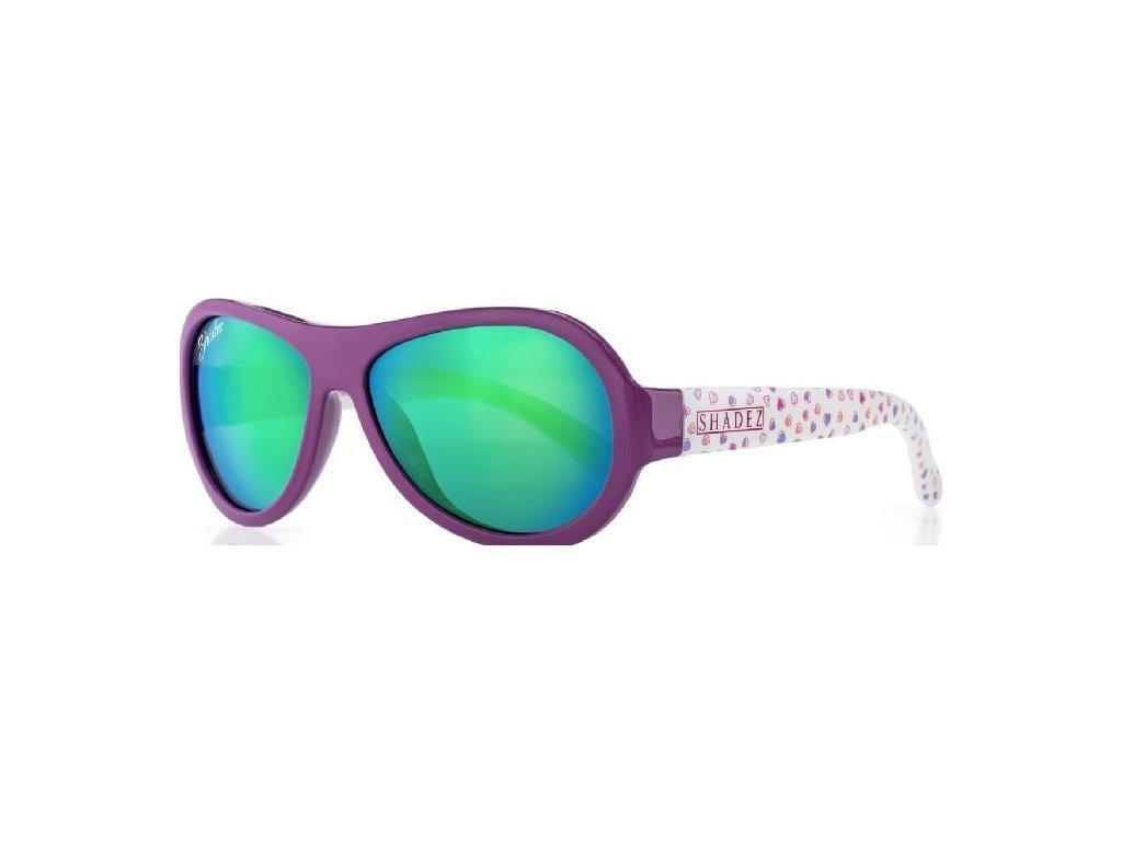 Kvalitní dětské sluneční brýle s ochranou před UVA i UVB zářením a bez BPA Shadez Designers - Hearts Blue v modré barvě