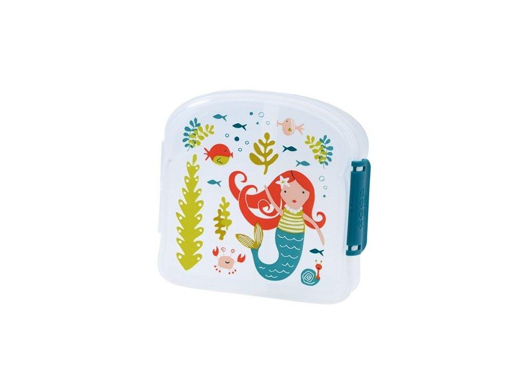 Kvalitní dětská svačinová krabička s třemi oddělenými částmi a bez BPA Sugarbooger Good Lunch sandwich box - Isla the Mermaid
