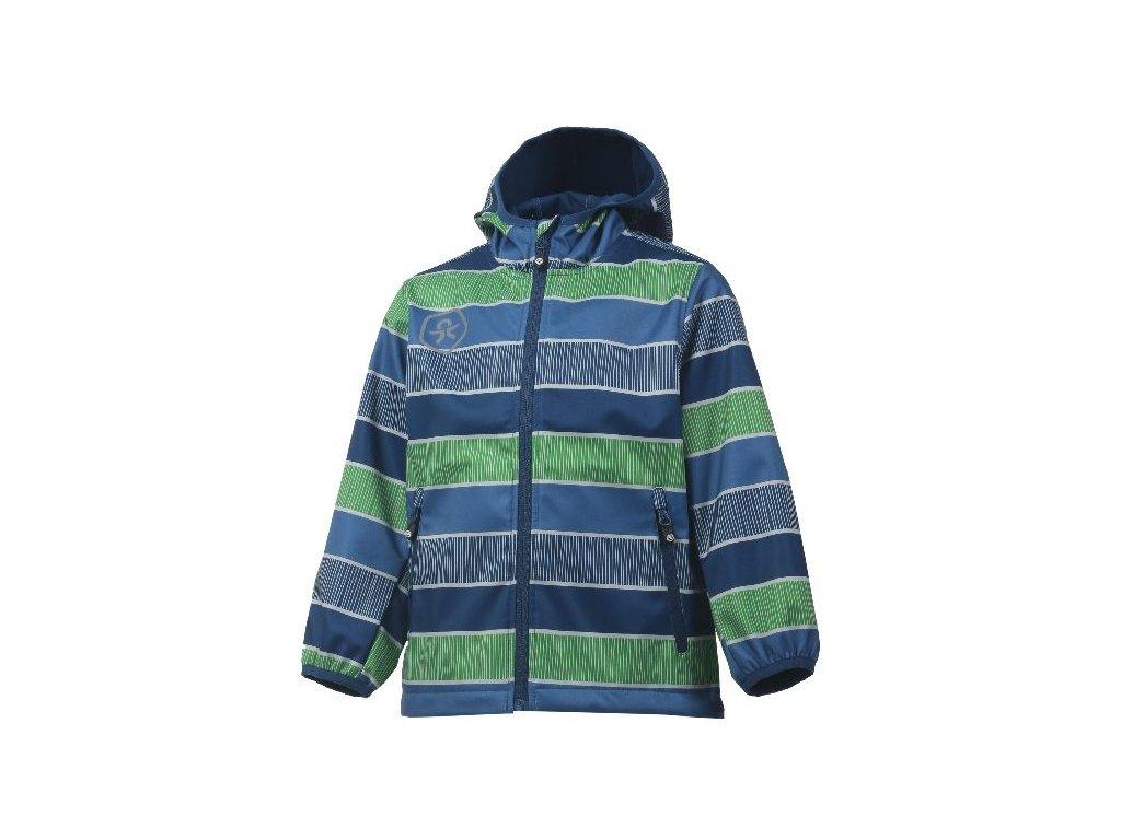 Kvalitní dětská prodyšná jarní softshellová bunda s kapucí a reflexními prvky Color Kids Tadimir - Jeans blue v modré barvě