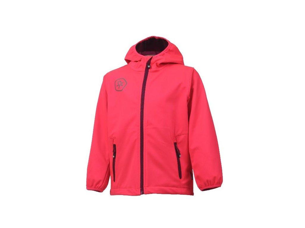 Kvalitní dětská prodyšná jarní softshellová bunda s kapucí a reflexními prvky Color Kids Barkin - Diva pink v růžové barvě