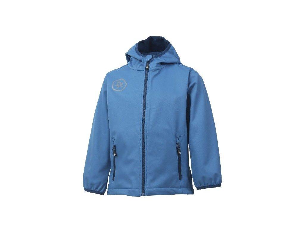 Kvalitní dětská prodyšná jarní softshellová bunda s kapucí a reflexními prvky Color Kids Barkin - Jeans blue v modré barvě