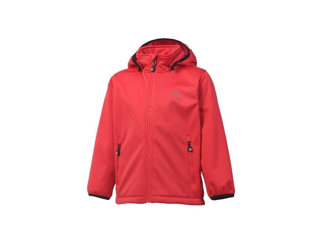 Kvalitní dětská prodyšná jarní softshellová bunda s kapucí a reflexními prvky Color Kids Ralado - Coral red v červené barvě
