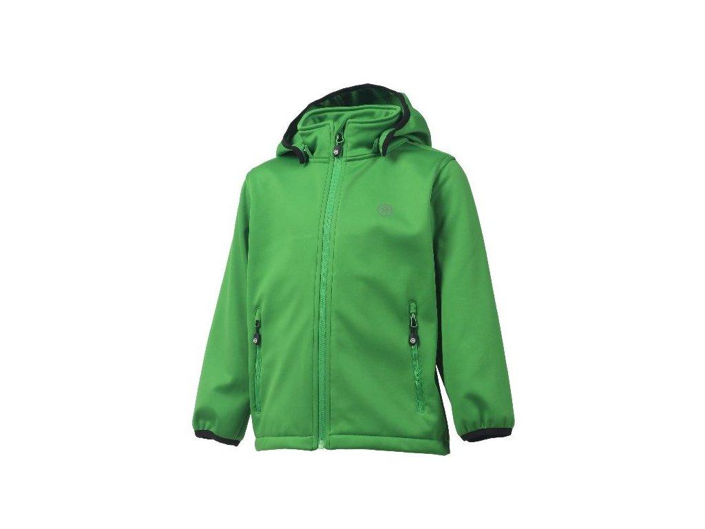 Kvalitní dětská prodyšná jarní softshellová bunda s kapucí a reflexními prvky Color Kids Ralado - Online green v zelené barvě