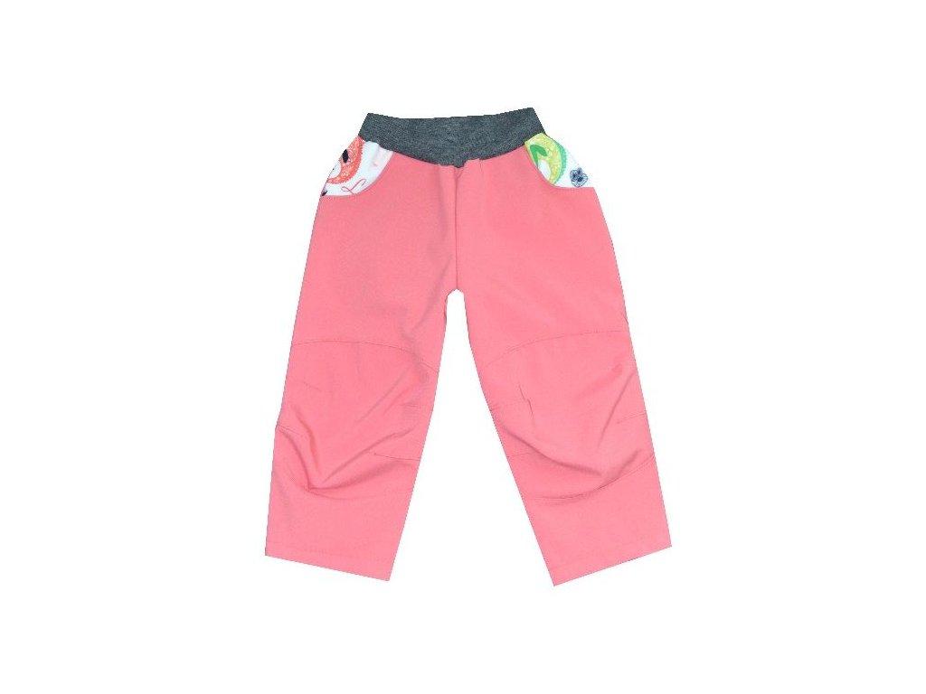 Kvalitní dětské lehké softshellové kalhoty s reflexními prvky Kakadu lososové - chameleon v lososové barvě