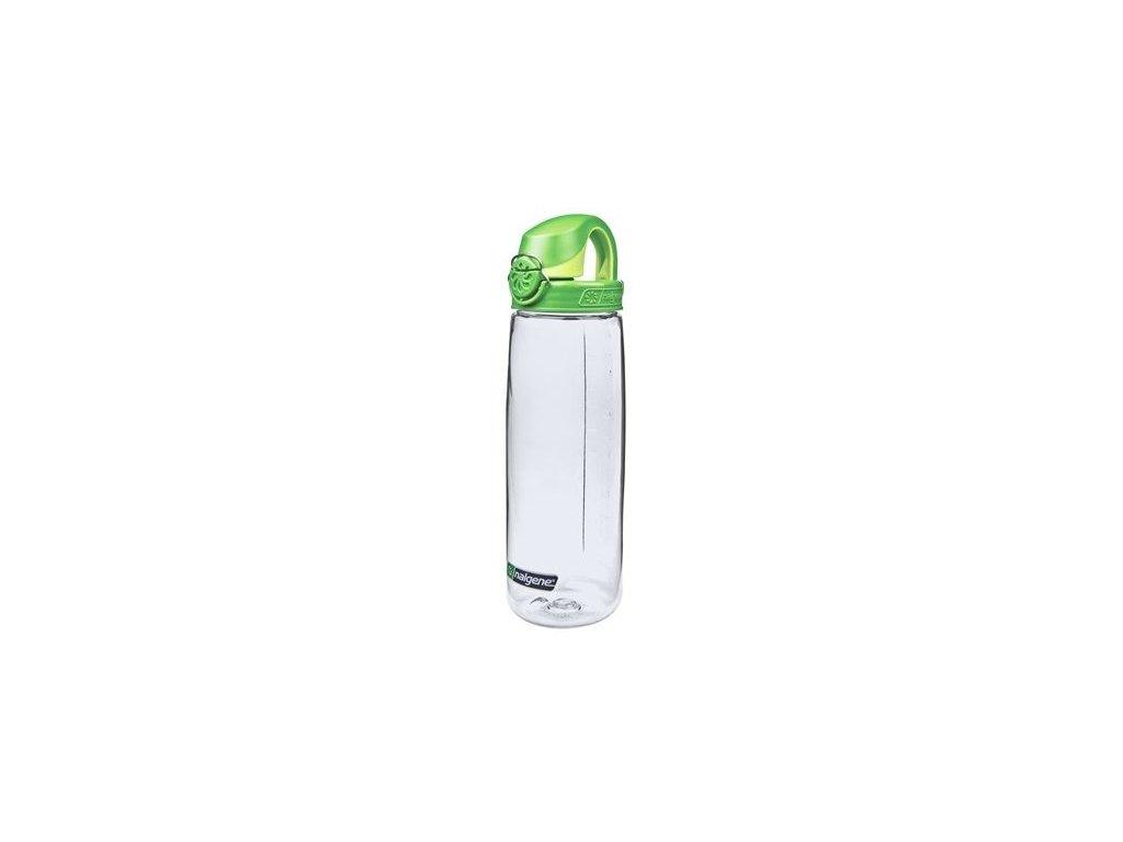 Kvalitní dětská plastová láhev bez BPA Nalgene OTF 650 ml čirá - zelené víčko
