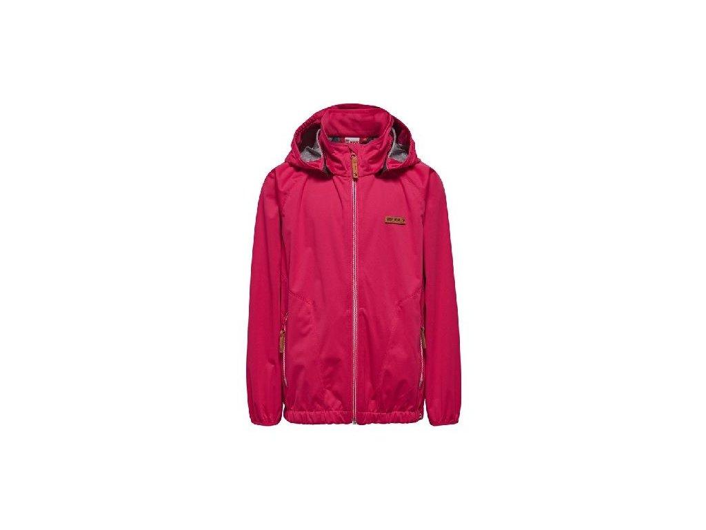 Kvalitní dětská zateplená jarní softshellová bunda s kapucí a reflexními prvky LEGO® Wear Sabrine 204 v červené barvě