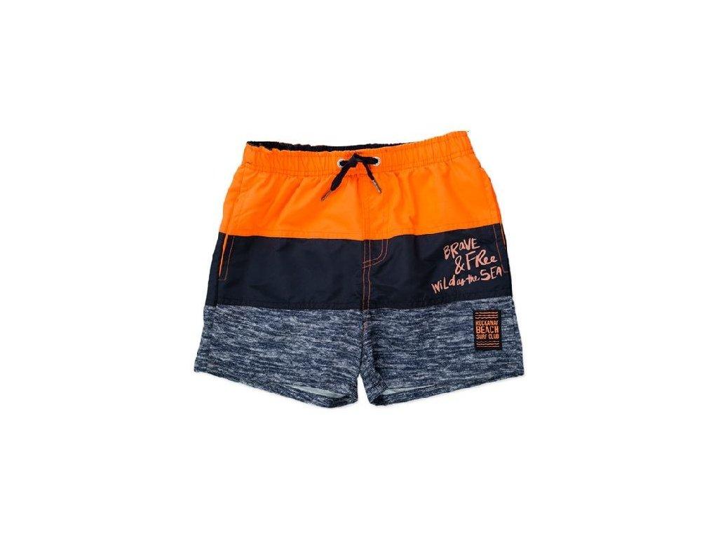 Kvalitní chlapecké rychleschnoucí šortkové plavky s UV ochranou Losan černo-oranžové