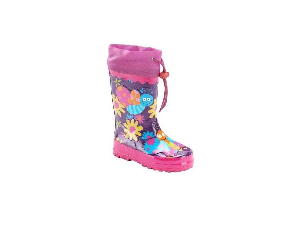 Kvalitní dětské gumáky Pidilidi kytička v růžové barvě