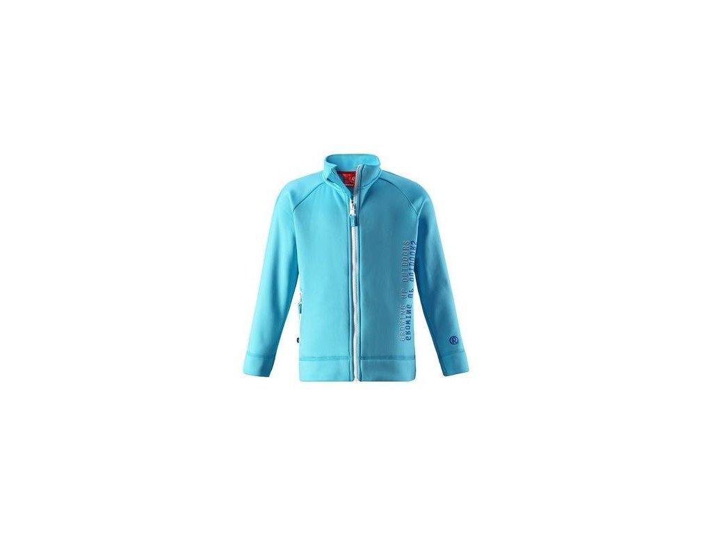 Kvalitní dětská hřejivá jarní fleecová mikina Reima Bro - Turquoise v tyrkysové barvě