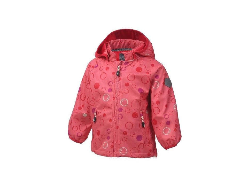 Kvalitní dětská prodyšná jarní softshellová bunda s kapucí a reflexními prvky Color Kids Veast - Sugar coral ve světle růžové barvě