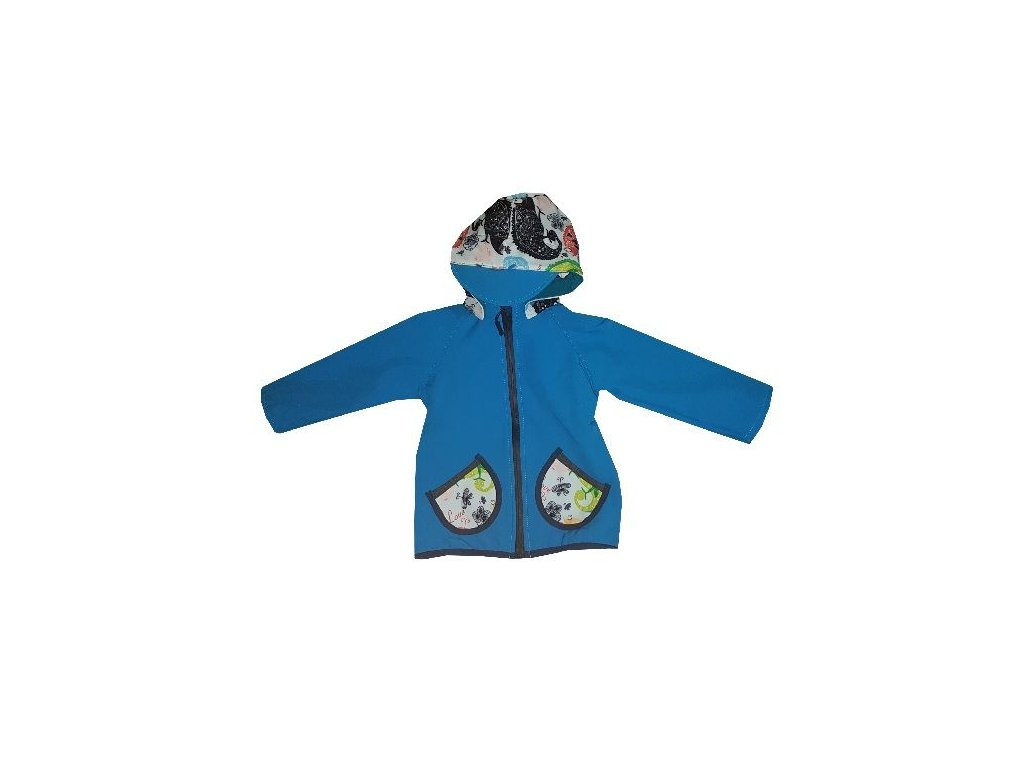 Kvalitní dětská prodyšná jarní softshellová bunda s kapucí a reflexními prvky Kakadu tyrkysová - chameleon v tyrkysové barvě