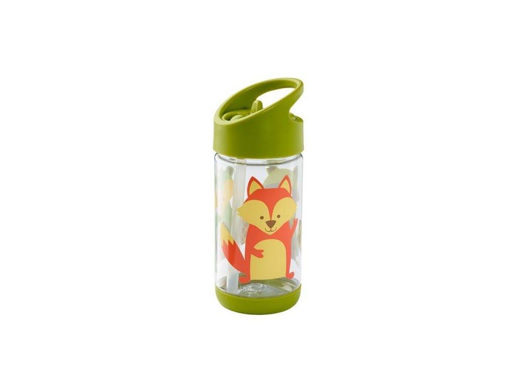 Kvalitní dětská lahvička s karabinou je vyrobena z vysoce kvalitního tritanu Sugarbooger Flip and Sip - What did the Fox Eat v zelené barvě