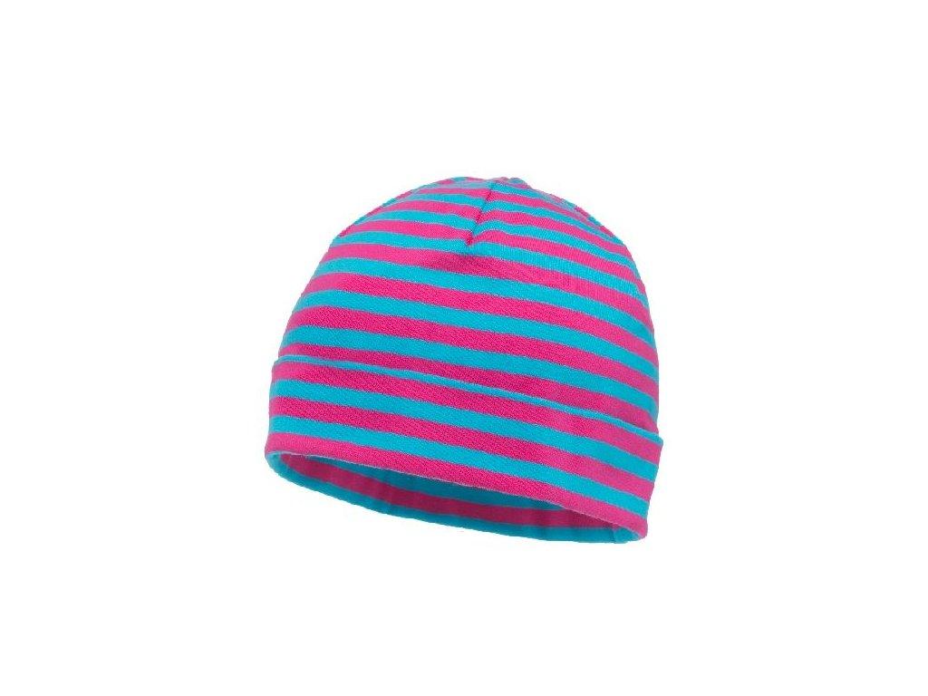 Kvalitní dětská bavlněná zimní barevná čepice Maximo proužek
